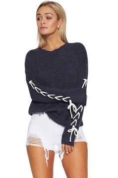 Women Round Neck Cross Lace Up Sleeve Plain Pullover Sweater Navy Blue