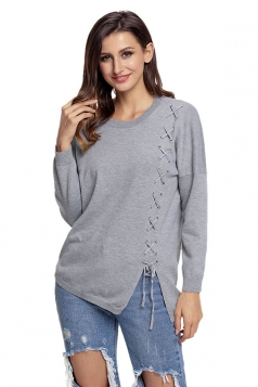 Womens Round Neck Long Sleve Eyelet Lace Up Slit Pullover Sweater Gray