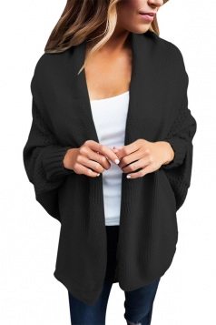 Womens Long Sleeve Batwing Sleeve Knit Open Front Plain Cardigan Black