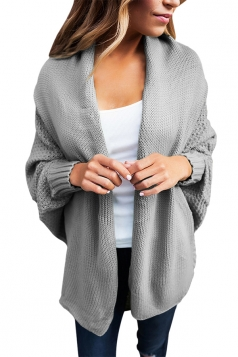 Womens Long Sleeve Batwing Sleeve Knit Open Front Plain Cardigan Gray