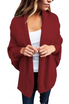 Womens Long Sleeve Batwing Sleeve Knit Open Front Plain Cardigan Ruby