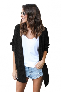 Womens Casual Long Sleeve Open Front Knit Plain Light Cardigan Black