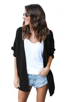 Womens Casual Long Sleeve Open Front Knit Plain Light Cardigan Black