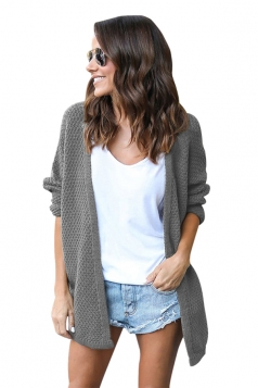 Womens Casual Long Sleeve Open Front Knit Plain Light Cardigan Gray