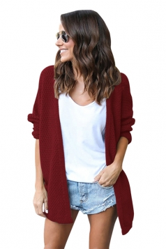 Womens Casual Long Sleeve Open Front Knit Plain Light Cardigan Ruby