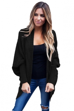Womens Batwing Sleeve Ribbed Knit Sweater Plain Cardigan Black