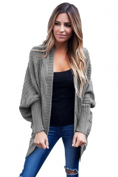 Womens Batwing Sleeve Ribbed Knit Sweater Plain Cardigan Gray