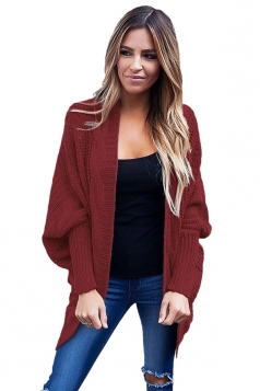 Womens Batwing Sleeve Ribbed Knit Sweater Plain Cardigan Ruby
