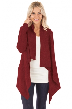 Womens Long Sleeve Waterfall Ribbed Knit Sweater Plain Cardigan Ruby