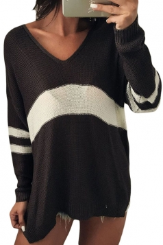 Womens V-Neck Long Sleeve Stripe Dip Hem Loose Pullover Sweater Black