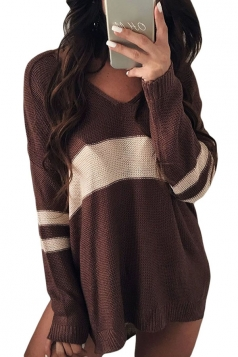 Womens V-Neck Long Sleeve Stripe Dip Hem Loose Pullover Sweater Brown