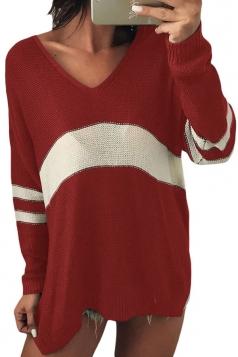 Womens V-Neck Long Sleeve Stripe Dip Hem Loose Pullover Sweater Ruby