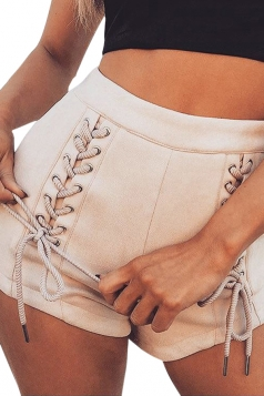 Womens High Waist Eyelet Lace Up Back Zipper Suede Shorts Apricot