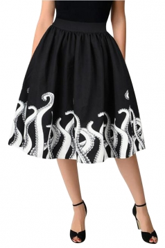Womens Trendy High Waisted Octopus Printed Pleated Skirt Dull Black