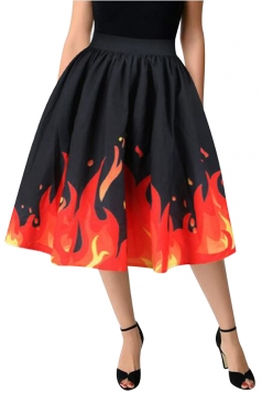 Womens High Waisted Flame Printed Pleated Skirt Orange Red