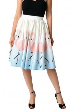 Womens High Waisted Flamingo Printed Pleated Skirt Pink