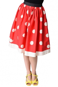 Womens Cute High Waisted Polka Dot Pleated Skirt Red