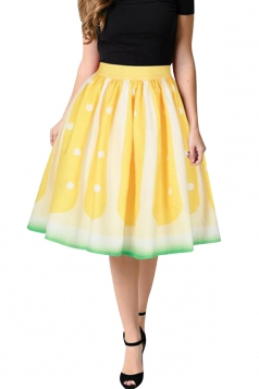 Womens Cute High Waisted Polka Dot Pleated Skirt Yellow