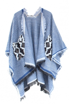 Womens Chevron Pattern Fringe Shawl Wrap Open Front Poncho Light Blue