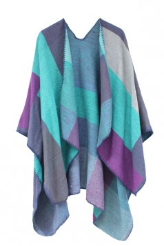 Womens Color Block Whipstitch Shawl Wrap Open Front Poncho Khaki