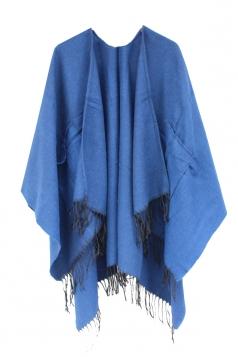 Womens Fringe Hem Both Side Pockets Plain Shawl Open Front Poncho Blue