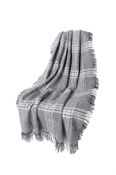 Womens Fringe Thicken Warm Shawl Tartan Plaid Scarf Light Gray