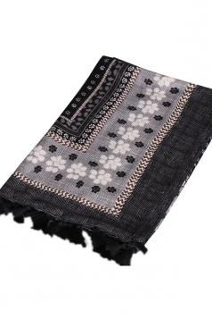 Womens Shawl Tassel Striped Flower Printed Ethnic Scarf Black