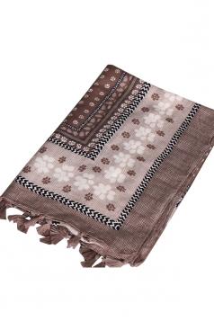 Womens Shawl Tassel Striped Flower Printed Ethnic Scarf Khaki