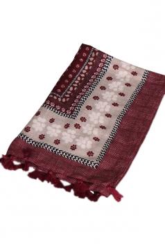 Womens Shawl Tassel Striped Flower Printed Ethnic Scarf Ruby