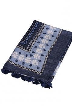 Womens Shawl Tassel Striped Flower Printed Ethnic Scarf Navy Blue