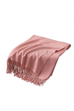Womens Trendy Warm Shawl Fringe Plain Scarf Apricot