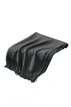 Womens Trendy Warm Shawl Fringe Plain Scarf Dark Gray