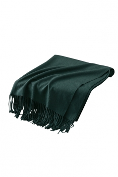 Womens Trendy Warm Shawl Fringe Plain Scarf Green