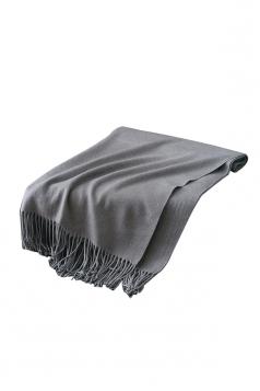 Womens Trendy Warm Shawl Fringe Plain Scarf Gray