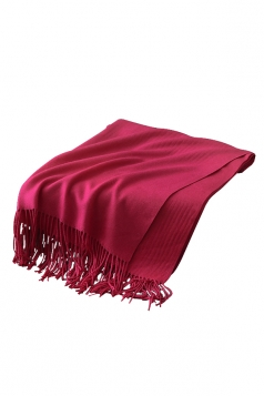 Womens Trendy Warm Shawl Fringe Plain Scarf Rose Red