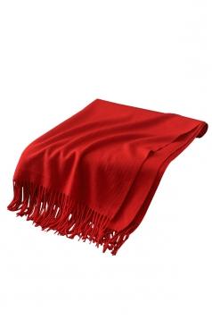 Womens Trendy Warm Shawl Fringe Plain Scarf Orange Red