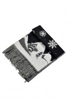 Womens Warm Tassel Snowflake Christmas Tree Printed Scarf Black