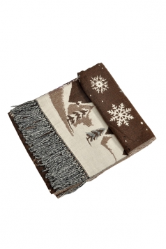 Womens Warm Tassel Snowflake Christmas Tree Printed Scarf Coffee