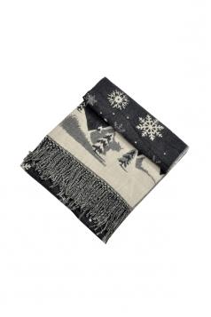 Womens Warm Tassel Snowflake Christmas Tree Printed Scarf Dark Gray