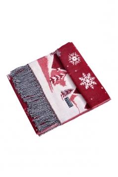 Womens Warm Tassel Snowflake Christmas Tree Printed Scarf Red