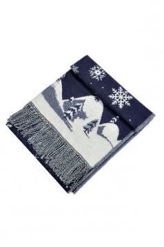 Womens Warm Tassel Snowflake Christmas Tree Printed Scarf Navy Blue