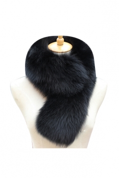 Womens Warm Winter Scarf Plain Long Faux Fur Collar Black