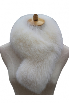 Womens Warm Winter Scarf Plain Long Faux Fur Collar Beige White
