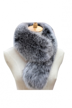 Womens Warm Winter Scarf Plain Long Faux Fur Collar Dark Gray