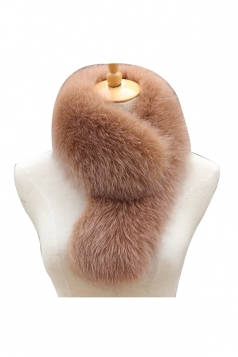 Womens Warm Winter Scarf Plain Long Faux Fur Collar Khaki