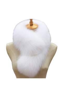 Womens Warm Winter Scarf Plain Long Faux Fur Collar White