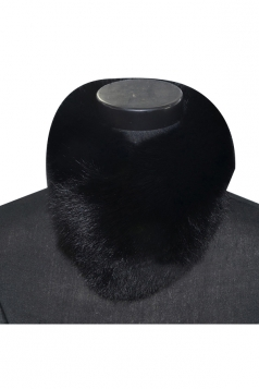 Womens Warm Winter Scarf Plain Faux Fur Collar Black