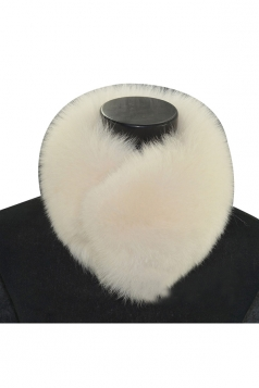 Womens Warm Winter Scarf Plain Faux Fur Collar Beige White