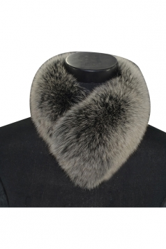 Womens Warm Winter Scarf Plain Faux Fur Collar Dark Gray