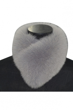 Womens Warm Winter Scarf Plain Faux Fur Collar Gray